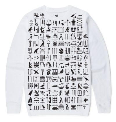 White Hieroglyphics Sweater