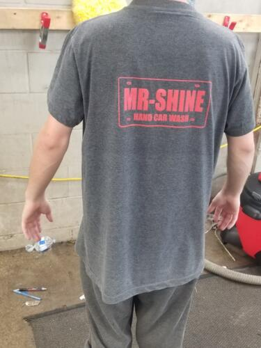 a custom t-shirt that was printed for a car wash company